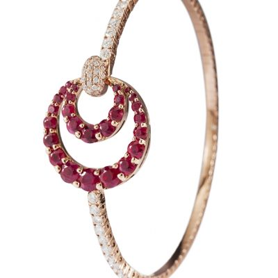 ROSE GOLD WHITE DIAMONDS RUBIES BANGLE