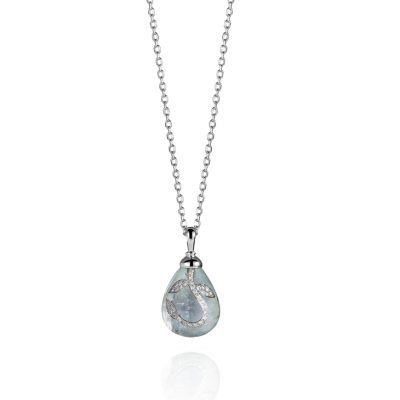 WHITE GOLD WHITE DIAMONDS AQUAMARINE PENDANT