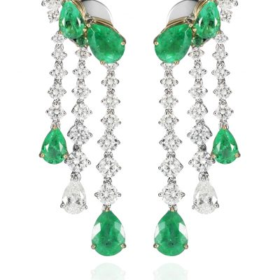 WHITE/ROSE GOLD WHITE DIAMONDS EMERALDS EARRINGS
