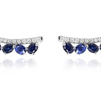 WHITE GOLD WHITE DIAMONDS BLUE SAPPHIRES EARRINGS