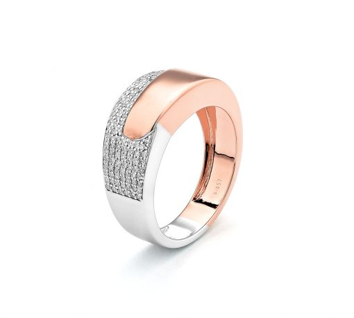 18 ct rose gold and white gold diamond pave set ring D0.22 ct 3.9