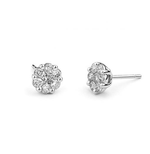 White gold white diamond earrings 1.00 cts top quality diamonds £2300