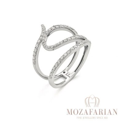 One of Mozafarians current featured designers, Facet 18ct White Gold Ring with 0.60 ct White Diamonds. Weight: 3.8 g (Ring size can be adjusted with no charge, we will email you after your purchase with measurement requirements)