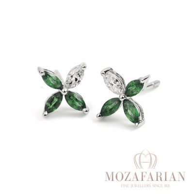Diamond and emerald studs