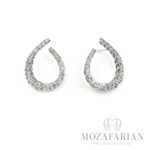 One of Mozafarians current featured designers, Facet 18ct White Gold Earrings with 4.00 ct White Diamonds. Weight: 8.7 g