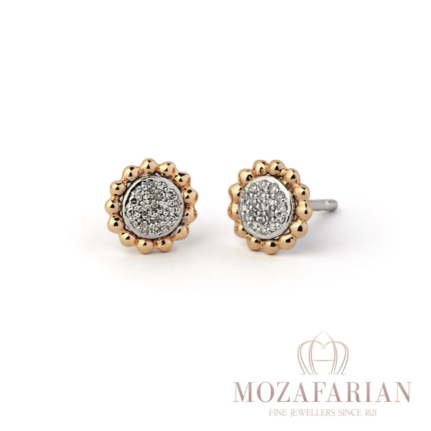 Rose gold and diamond studs