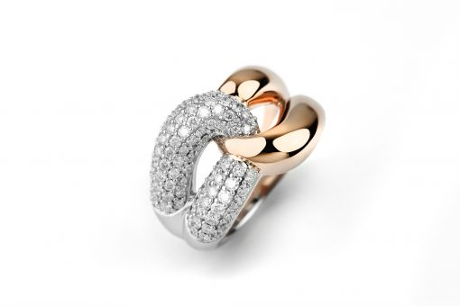 One of Mozafarians current featured designers, Facet 18ct White and Rose Gold Ring with 1.15 ct White Diamonds. Weight: 11.3 g (Ring size can be adjusted with no charge, we will