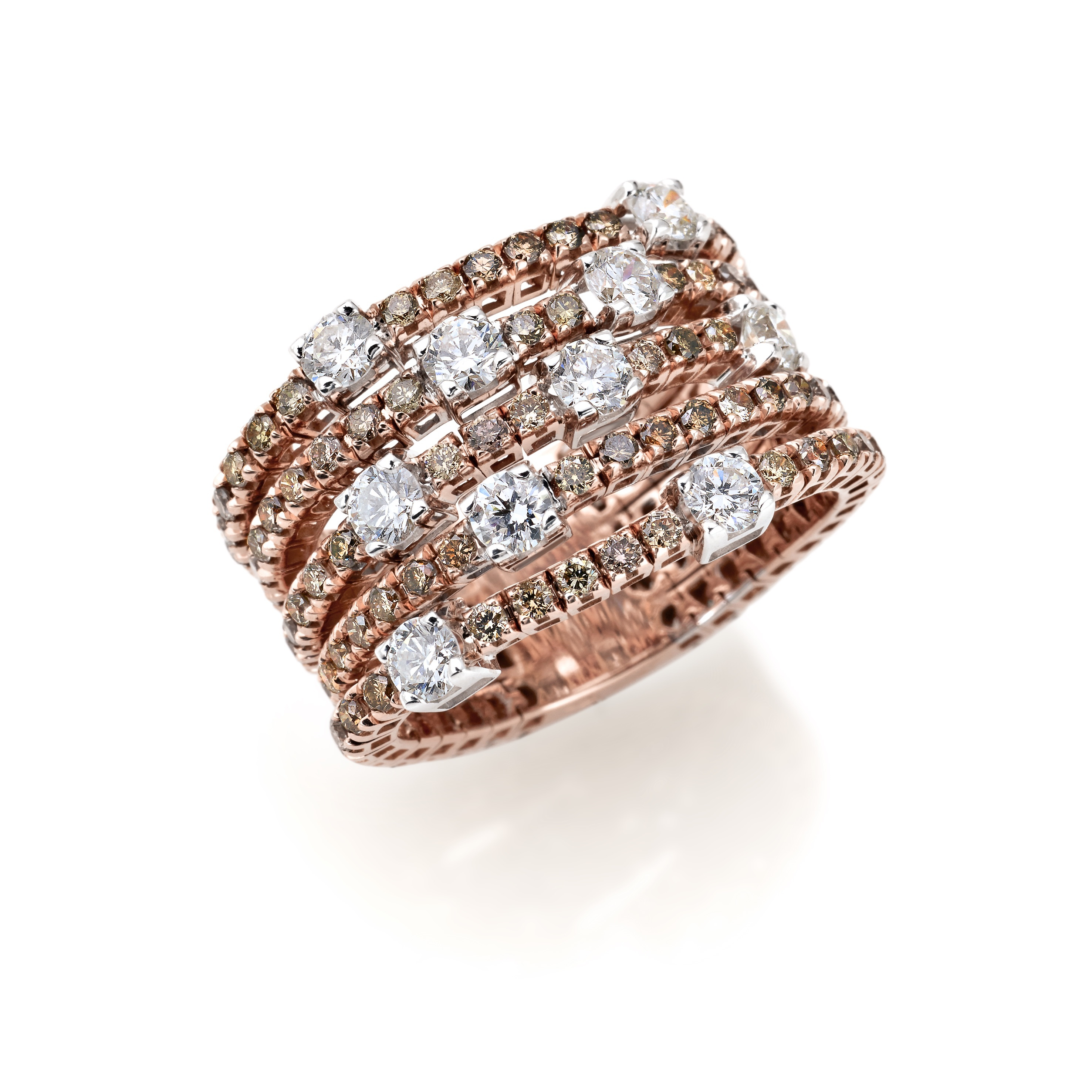 Mozafarians current featured designers, Crieri 18ct Rose Gold Ring with 3.2ct White Diamonds: G Colour, VS-S1 Clarity