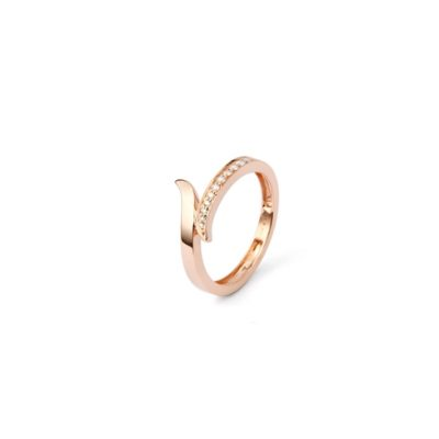 18ct Rose Gold Ring with 0.12 ct White Diamonds. Weight: 2.8 g