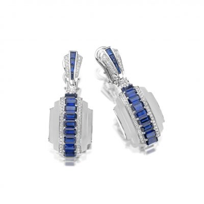 18ct White Gold Earrings with Rock Crystal, 6.56ct Blue Sapphires and 0.98ct White Diamonds: F/G Colour and VS clarity.