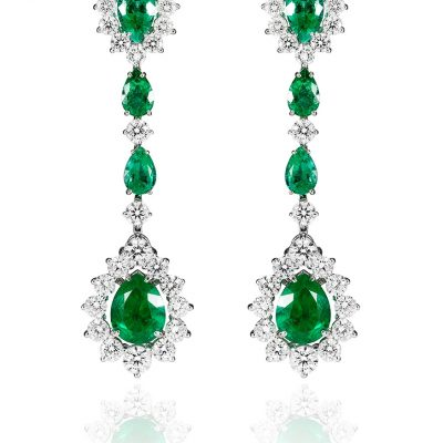White diamond and emerald earrings