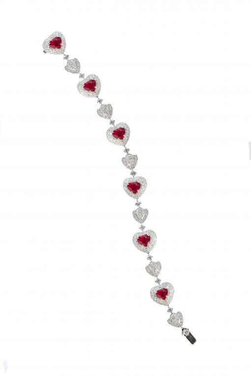 One of Mozafarians current featured designers, RF Jewels 18ct White gold Bracelet with 7.14 ct White Diamonds and 6.58 ct Rubies. Gold: 29.00 g